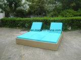 Novo design do mobiliário de exterior de vime Jardim Sol Duplo Bed Chaise espreguiçadeira (YTF552)