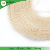 Weave reto europeu louro do cabelo humano do fechamento do laço 613#