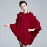 Lady Fashion tricot jacquard acrylique volant Poncho châle d'hiver (YKY4484)