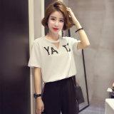 중국 공장 편리한 여자의 t-셔츠 간결 소매