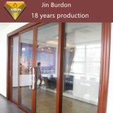 Горячая раздвижная дверь двойной застеклять алюминиевого сплава сбывания с деревянным цветом