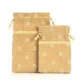 Оптовая торговля Burlap дамской сумочке кулиской подарок Чехол Bag джутовых мешков (1706)