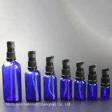 Frasco gotero de cristal azul con negro de la bomba de loción, botella de aceite esencial (NBG03C)
