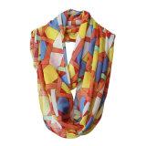 Mode féminine de la géométrie de l'infini en mousseline de polyester imprimé foulard (YKY1119)