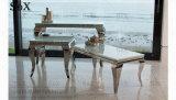 Vidrio templado de la tabla final de acero inoxidable Muebles de Comedor