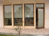 Porte française de double en verre Tempered de Woodwin d'interruption porte en aluminium thermique de tissu pour rideaux