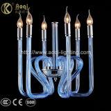 밝은 파란색 유리제 예술 펜던트 빛