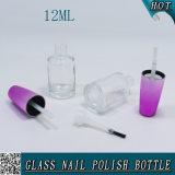 シリンダー紫色のブラシの帽子が付いているカスタム12mlガラス釘のゲルのポーランド人のびん