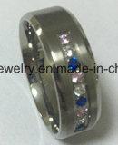 Anillo Titanium de piedra de cristal del acero inoxidable de la manera (TR1826)