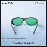 Moda Tipo de láser rojo de 635 nm y 905nm y 980nm gafas de seguridad Láser de Diodo (630-660nm y 800-830nm &900-1100nm) con bastidor 55