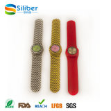 Custom Printed Logo Moda Padrão Silicone Quartz Slap Pulseira Relógio de pulso