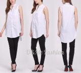 Les chemises sans manche conçoivent les chemises blanches de loisirs de coton pour des femmes