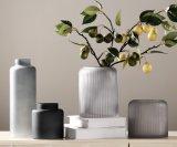 Прямая стеклянная ваза цветка для домашнего украшения (серого)