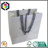Saco branco do presente do papel de embalagem Da cor do punho da fita para a compra