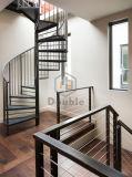 Gewundenes Treppenhaus mit hölzernem Schritt-Edelstahl-Geländer