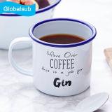 Sublimación personalizada esmalte taza de ginebra con tapa