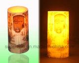 휴일 실내 현실적 경경 모조 불꽃 없는 기둥 LED 플라스틱 초 선물 도매