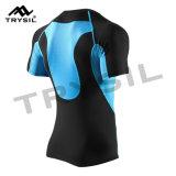 D'hommes usure élastique élevée de sports de T-shirt de compactage de forme physique de à manches courtes fortement