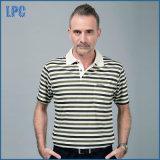 Polo 100% court rayé de Mens de marque de chemise de coton