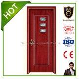 Porte en bois intérieure en verre de salle de bains de qualité de ventes d'escompte