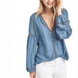 Кофточка тенниски джинсовой ткани Tencel вышивки женщин способа прямая