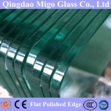 15mm Transparent verre trempé avec bord poli