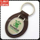 縫うロゴの良質PU革Keychain