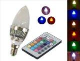 Las lámparas de vela remoto RGB LED E27 E14 B22 Holiday Lights con 120 grados del ángulo del haz de luces de fiesta