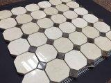 Crema Marfil Octógono de mármol beige oscuro mezclado Mosaico de puntos