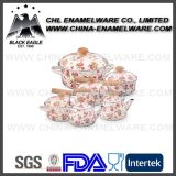 Fabricante FDA Standard Customized Logo Ceramic Enamel Cookware Set