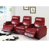Sofá reclinável elétrico de couro vermelho para casa 6031TV