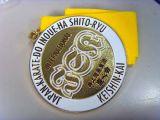 Medalha de esmalte suave de liga de zinco rectangular personalizada com fita