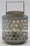 Ronda decorativos vintage de metal galvanizado linterna con LED Bombilla