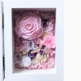 Casella di legno bianca del blocco per grafici della foto del regalo del fiore di colore su ordinazione