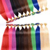 Extensão de cabelo de queratina em linha reta, U Tip Pre-Bonded cabelo prego ponta cabelo