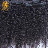 Clip in clip riccia crespa mongola di estensioni dei capelli umani nell'Istituto centrale di statistica crespo della clip di capelli ricci di Afro di estensioni dei capelli per le donne di colore