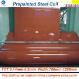 bobine en acier enduite par couleur en acier enduite d'une première couche de peinture de matériau de construction de 0.14-0.8mm