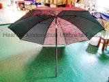 2m de Zwarte Paraplu van de Zon van de Deklaag Openlucht met SPF 50 (bu-0040B)