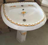Lavabo de colada decorativo de la flor de la fábrica de Chaozhou con el soporte completo del zócalo
