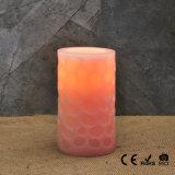 Vela sin llama tallada color de rosa del pilar del LED