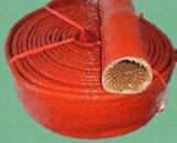 Óxido rojo de fibra de vidrio recubierto de silicona funda tubo/Fuego
