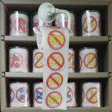 Roulis de WC de nouveauté de papier de toilette estampé par étiquette de chiffons de toilette de publicité