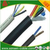Energien-Kabel der Kundenbezogenheits-buntes Zustimmungs-H05VV-F 3G1.5mm2