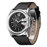 6838 Gran Dial reloj de pulsera de cuarzo multifunción-correa de cuero de la hebilla Ss