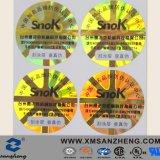 Sticker van de Verbinding van de Veiligheid van de Garantie van de Stamper van de douane de Rode Duidelijke Breekbare Holografische Nietige