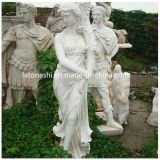 Soem White Marble Stone Carved Figure Sculpture Statue mit Cross