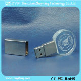 Movimentação redonda do flash do USB do cristal com logotipo 3D (ZYF1503)