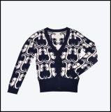 2013 La Moda con cuello en V Loog ardilla estriada de Manga Larga Camiseta/Chompas Cardigan, Jacquard tejidos