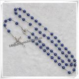 青いプラスチック十字のビードの数珠(IOcr231)