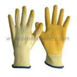 10のゲージベージュTcのシェルの黄色のしわの乳液のやし上塗を施してある手袋